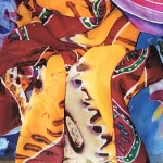 2 batik dyed silk scarves